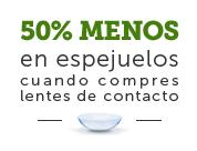 oferta de pearle vision - 50% de descuento en gafas, si compras lentes de contacto